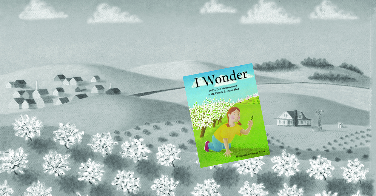 I Wonder book cover with illustration of orchard in background