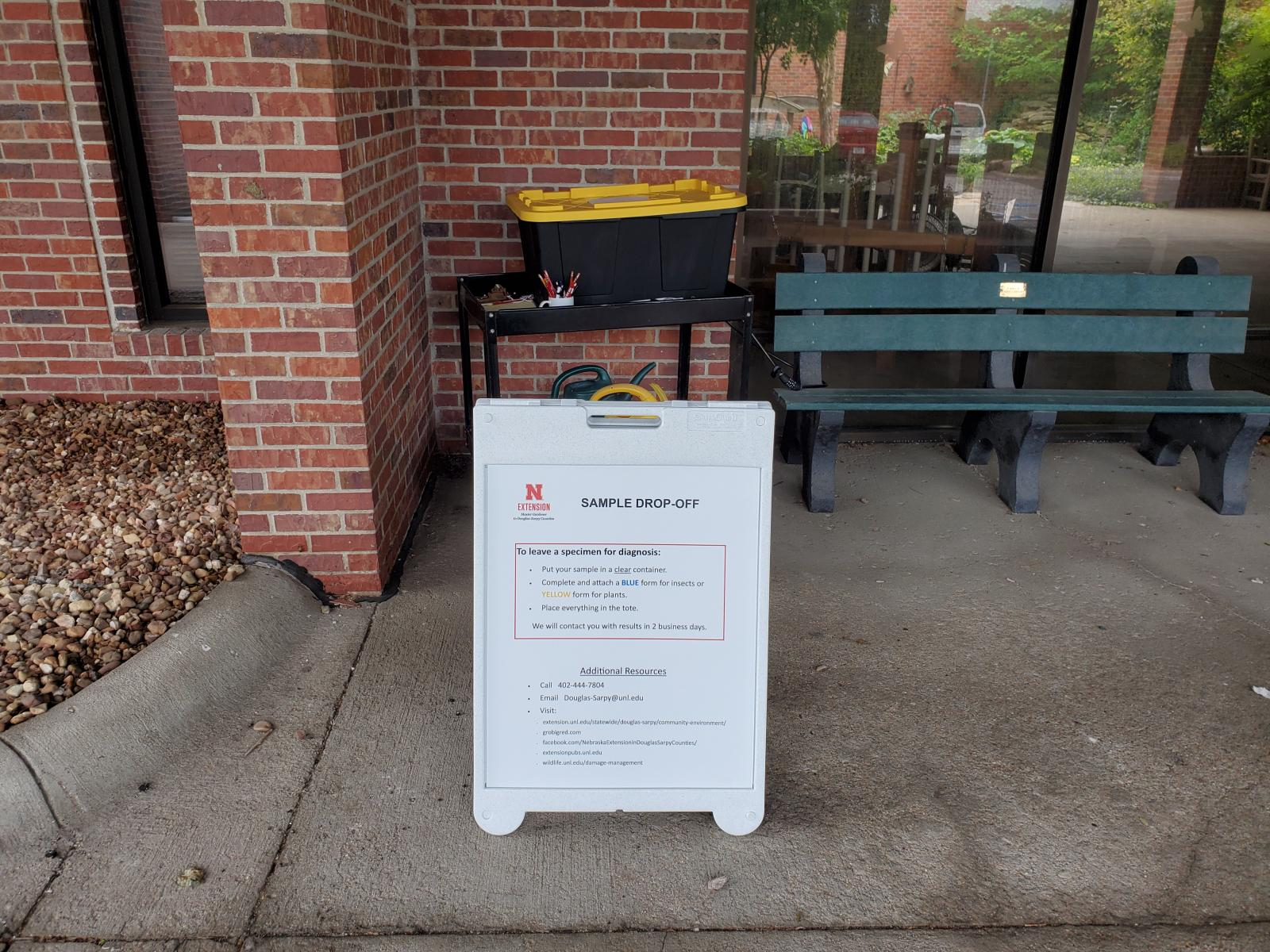 Sample Drop-off Box and Sandwich Board