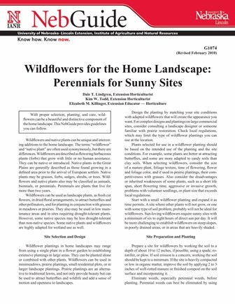 Wildflowers for the Home Landscape: Perennials for Sunny Sites (G1074)