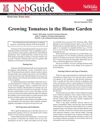 Growing Tomatoes in the Home Garden (G1650)