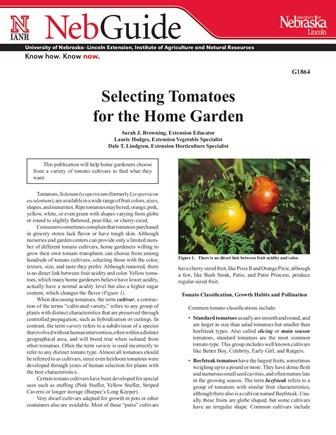 Selecting Tomatoes for the Home Garden (G1864)