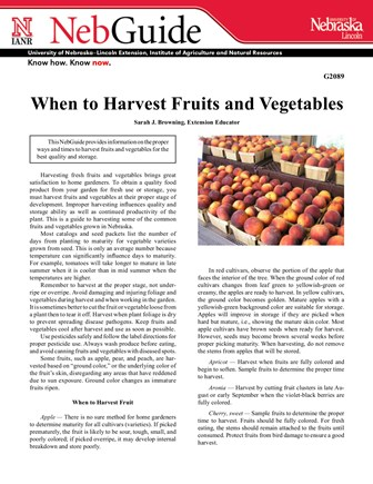 When to Harvest Fruits and Vegetables (G2089)
