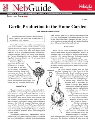 Garlic Production in the Home Garden (G2221)