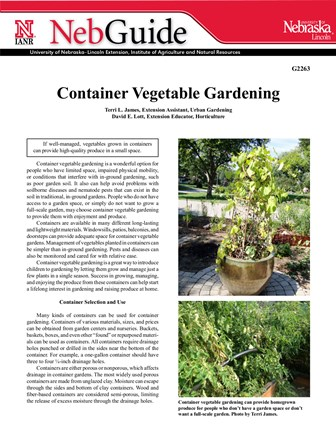 Container Vegetable Gardening (G2263)