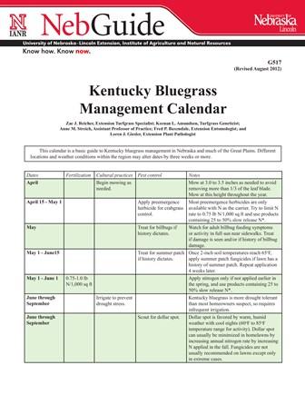 Kentucky  Bluegrass Management Calendar (G517)