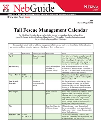 Tall Fescue Management Calendar (G558)