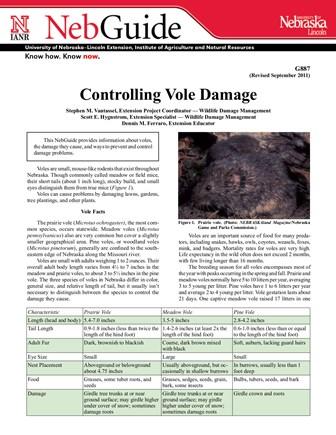 Controlling Vole Damage (G887)